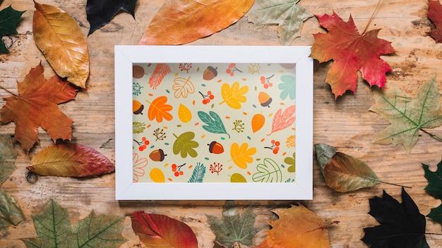Maquete de outono com moldura