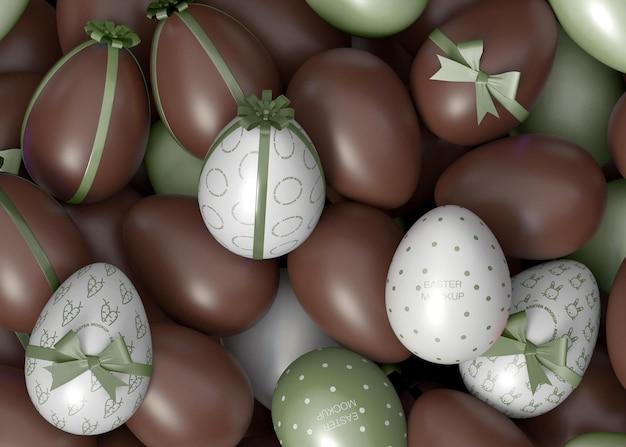 Maquete de ovo de chocolate de páscoa