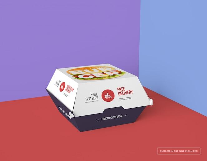 Maquete de pacote de caixa de hambúrguer