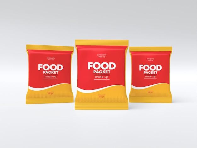 Maquete de pacote de comida brilhante