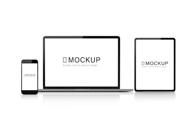 Maquete de pacote de dispositivos digitais