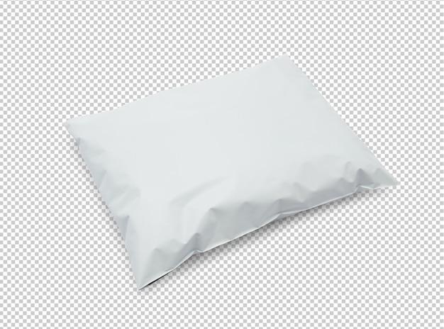 Maquete de pacote de saco de plástico branco em branco
