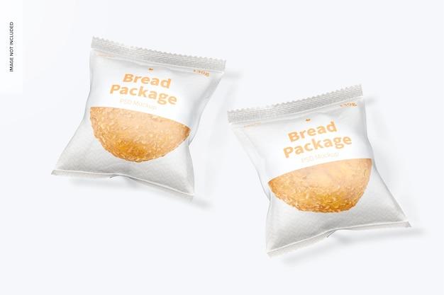 Maquete de pacotes de pão, vista superior