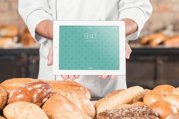 Maquete de padaria com tablet