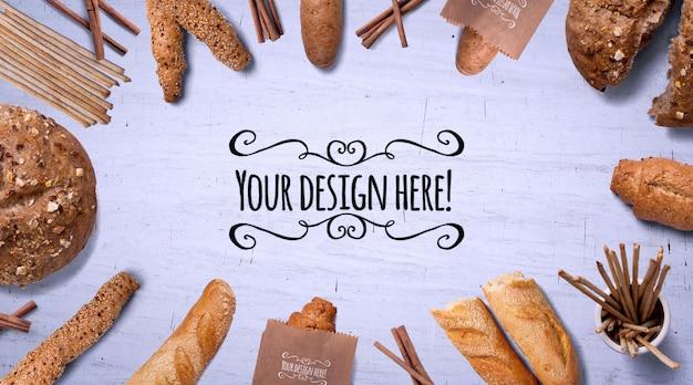 Maquete de padaria - embalagem de pão e papel