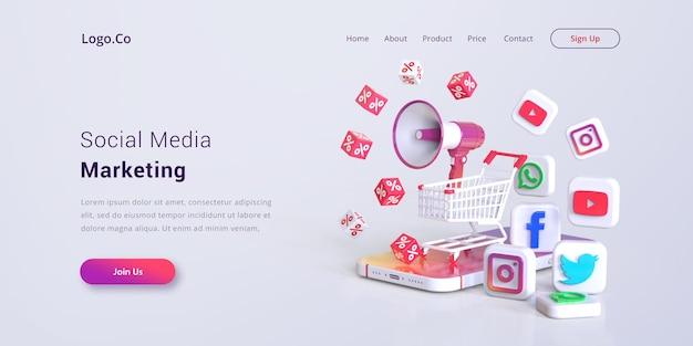 Maquete de página de destino de marketing de mídia social