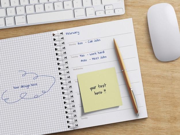 Maquete de páginas de planejador de diário de caderno espiral com conceito de trabalho de escritório de caneta na mesa de madeira isolada