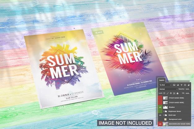 Maquete de panfleto com sombra de palma