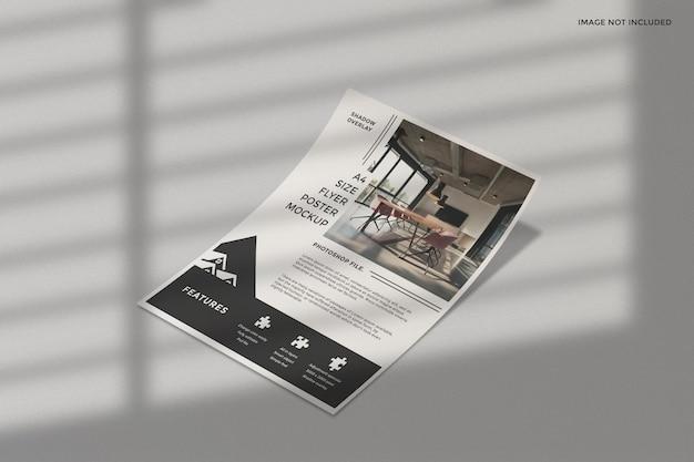 Maquete de panfleto comercial com sobreposição de sombra