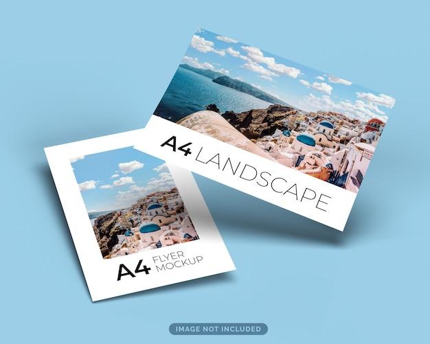 Maquete de panfleto de formato a4 em retrato e paisagem flutuando com sombra