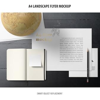 Maquete de panfleto de paisagem a4