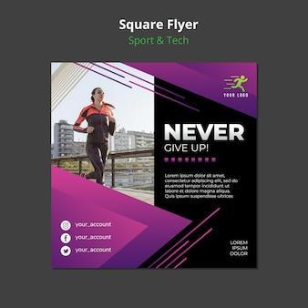 Maquete de panfleto quadrado de conceito de esporte e tecnologia