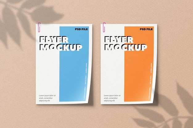 Maquete de panfletos com sobreposição de sombra