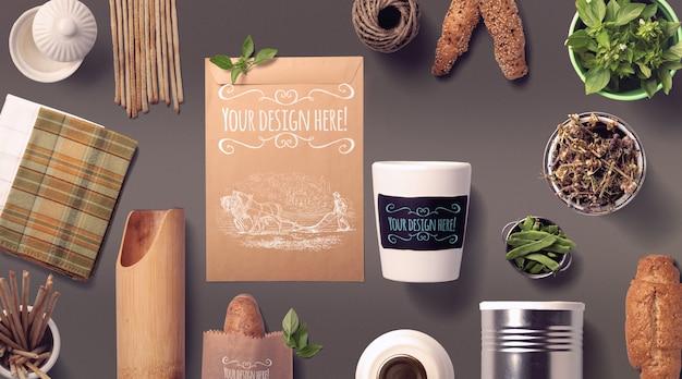 Maquete de pão e especiarias de alimentos orgânicos