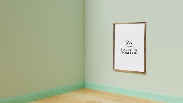 Maquete de papel a1 no suporte de parede, quadro de sinal de anúncio para folheto de exibição e pôster