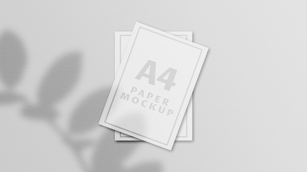 Maquete de papel a4 com vista superior
