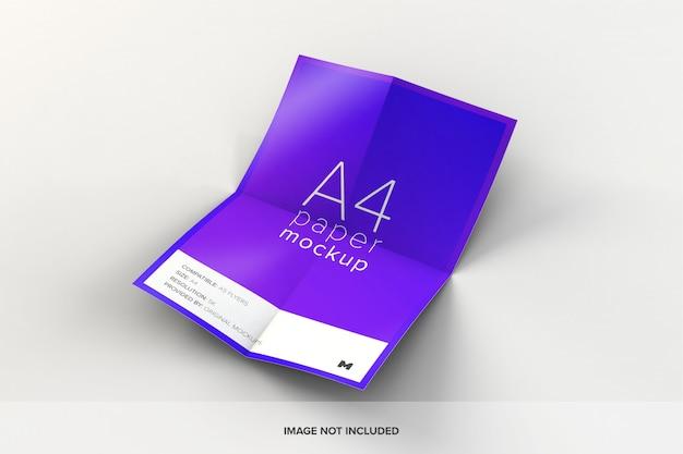 Maquete de papel a4 desdobrada
