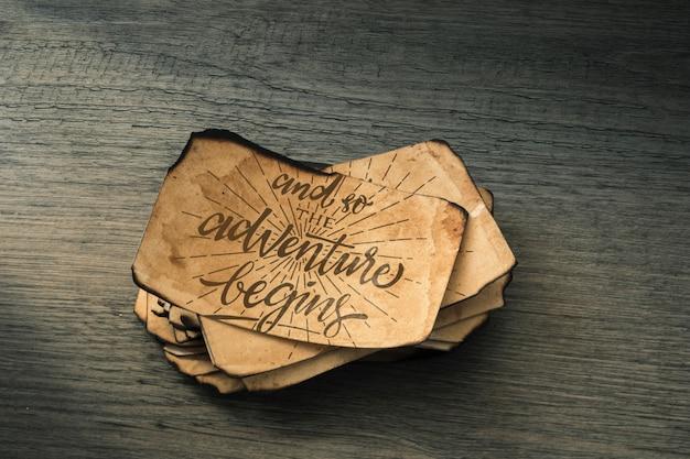 Maquete de papel antigo para o conceito de aventura