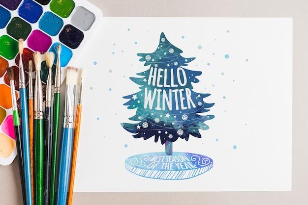 Maquete de papel com o conceito de artista