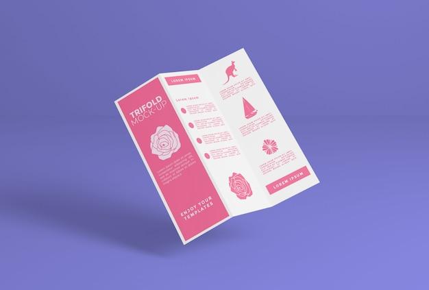 Maquete de papel com três dobras psd premium