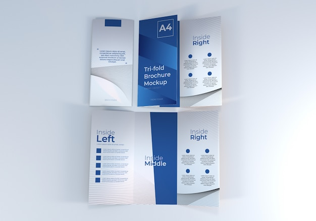 Maquete de papel de brochura com quatro dobras a4 realista