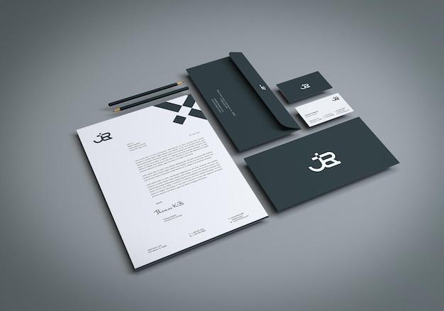 Maquete de papel de carta de identidade visual realista