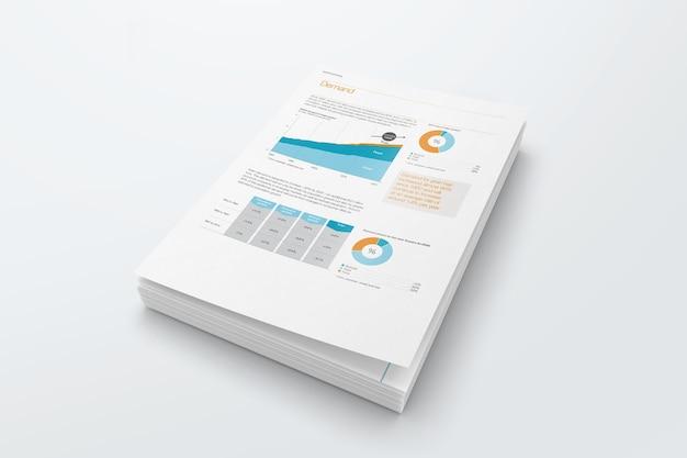 Maquete de papel de conjuntos grampeados