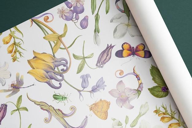 Maquete de papel de embrulho floral psd desenhado à mão em estilo vintage, remixado de obras de arte de pierre-joseph redouté