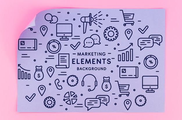 Maquete de papel de geometria com elementos de marketing