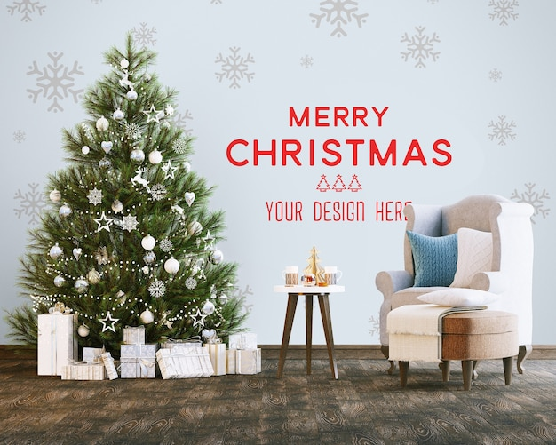 Maquete de papel de parede com árvore de natal e caixas de presente