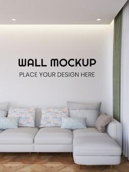 Maquete de papel de parede da sala de estar interna