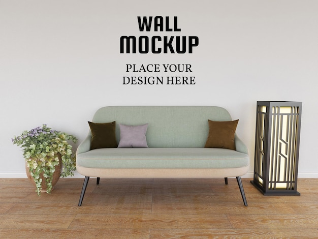 Maquete de papel de parede na sala de estar moderna
