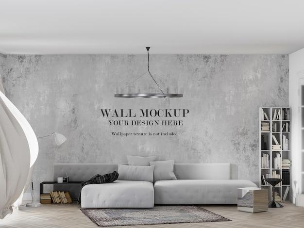 Maquete de papel de parede no interior com cortina ondulante