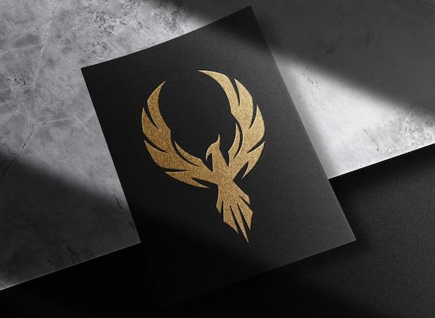 Maquete de papel dourado com relevo luxuoso