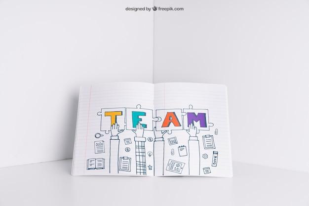 Maquete de papel no canto