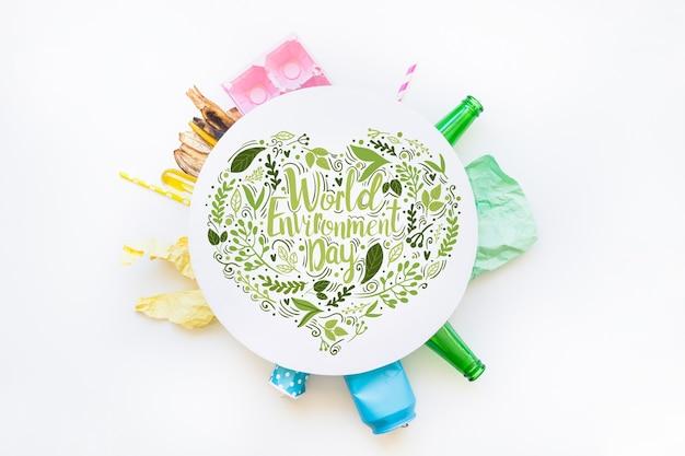 Maquete de papel redondo com o conceito de dia mundial do meio ambiente