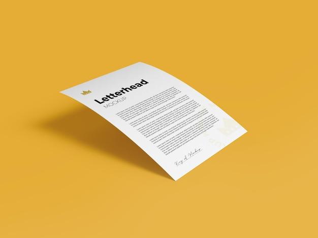 Maquete de papel timbrado a4 renderização de design