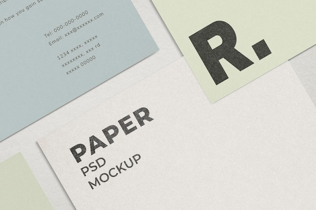 Maquete de papel timbrado comercial psd mínimo de papelaria