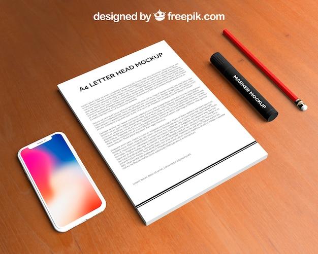 Maquete de papel timbrado e smartphone
