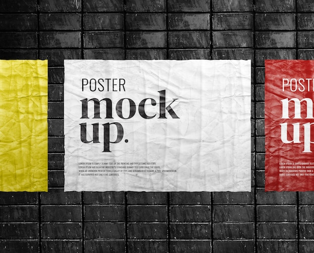 Maquete de papel visual de pôster na parede de tijolos Psd Premium