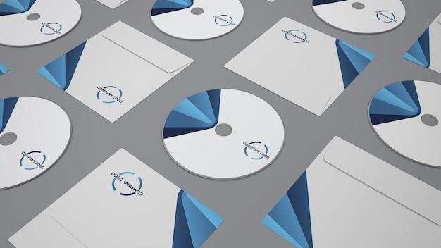 Maquete de papelaria com cds