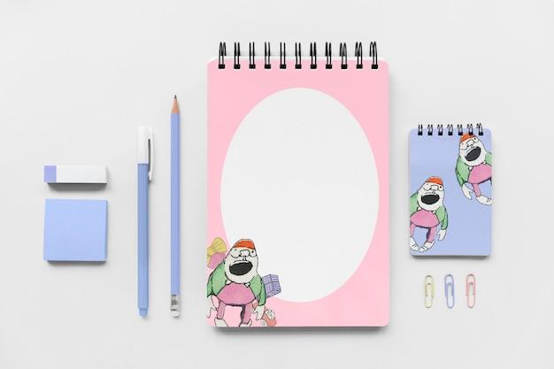 Maquete de papelaria com ilustração de desenhos animados