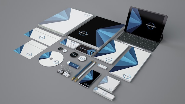 Maquete de papelaria com objetos diferentes