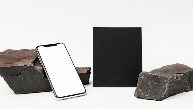 Maquete de papelaria com pedra escura Psd grátis