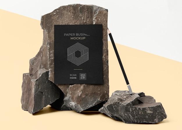 Maquete de papelaria com pedra escura