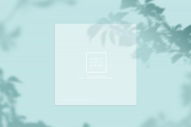Maquete de papelaria com sombras de folhas
