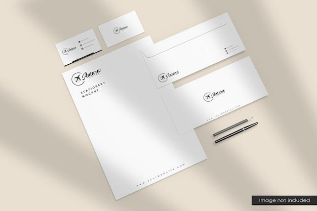 Maquete de papelaria com vista em perspectiva