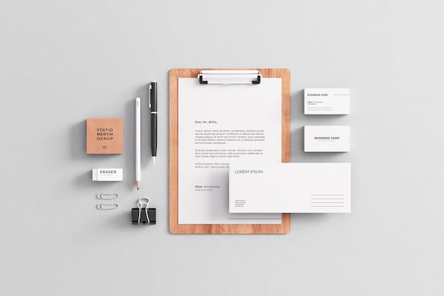 Maquete de papelaria da empresa