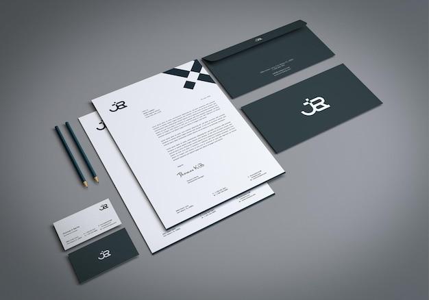 Maquete de papelaria de branding mínimo