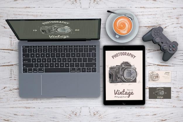 Maquete de papelaria de cima com o conceito de fotografia